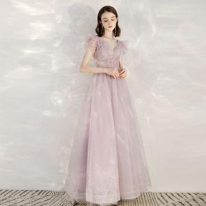 Eleganta Godis Rosa Aftonklänningar 2020 Prinsessa V-Hals Ärmlös Appliqués Paljetter Glittriga / Glitter Tyll Långa Ruffle Halterneck Formella Klänningar