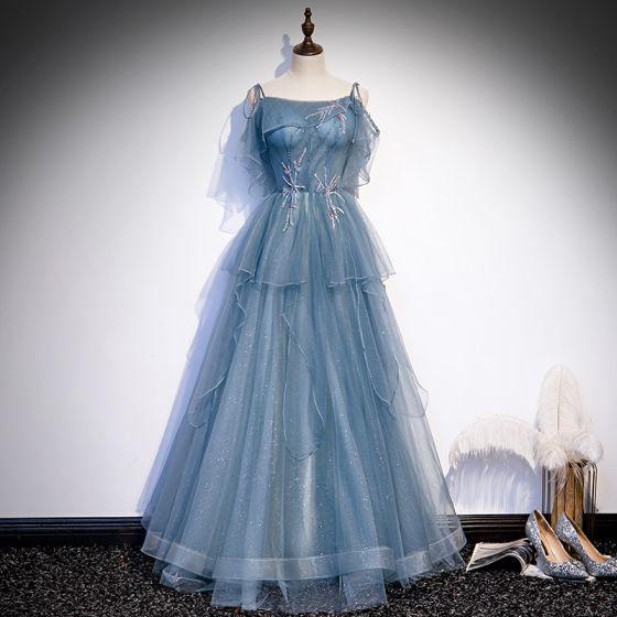 Elegant Ocean Blue Dancing Prom Dresses 2020 A-Line / Princess Spaghetti Straps Sleeveless Beading Glitter Tulle Floor-Length / Long Ruffle Backless Formal Dresses