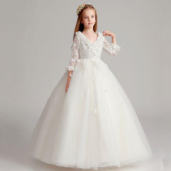 ef662e2320 Piękne Białe Sukienki Dla Dziewczynek 2017 Suknia Balowa V-Szyja 3 4 Rękawy  Z Koronki Aplikacje Kwiat Długie Wzburzyć Sukienki Na Wesele