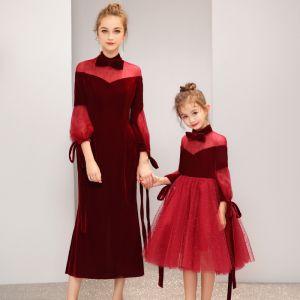 Chic / Belle Bordeaux Daim Transparentes Robe De Soirée 2019 Noeud Col Haut Gonflée 3/4 Manches Étoile Tulle Thé Longueur Volants Robe De Ceremonie