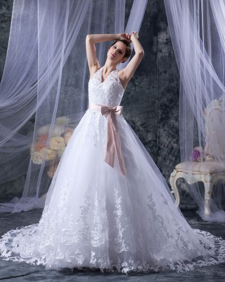 Satin Ribbon Lace Halter Sweep Bridal Ball Gown Wedding Dress