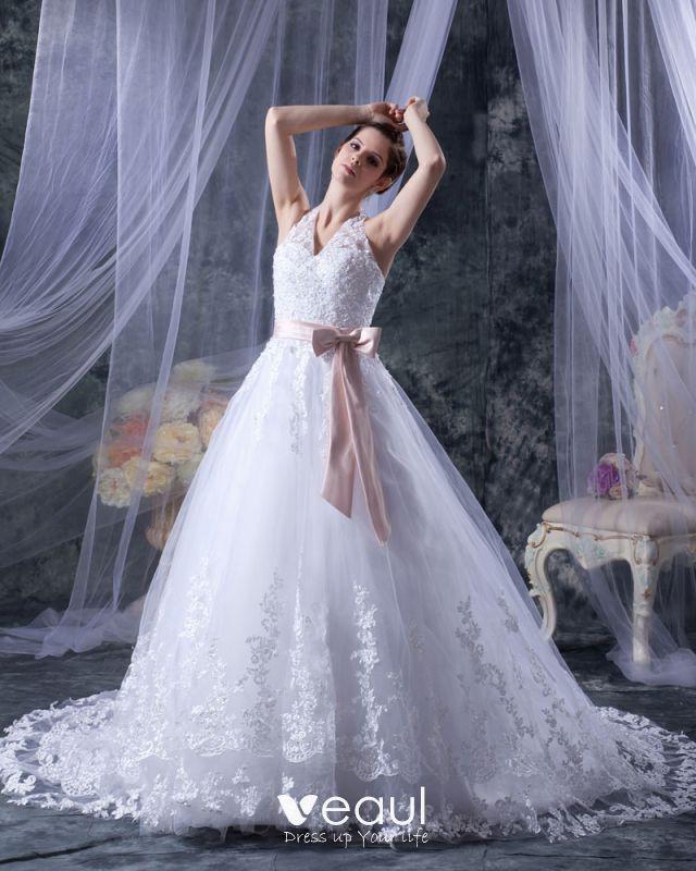 Satin Ribbon Lace Halter Sweep Bridal Ball Gown Wedding Dress