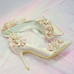 Chic / Beautiful Champagne Wedding Shoes 2018 Handmade  Flower Leather 7 cm Stiletto Heels Pointed Toe Wedding Pumps