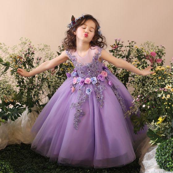Piękne Kościół Sukienki Na Wesele 2017 Sukienki Dla Dziewczynek Liliowy Suknia Balowa Długość Herbaty Wycięciem Bez Rękawów Bez Pleców Z Koronki Kwiat Aplikacje Cekiny Perła