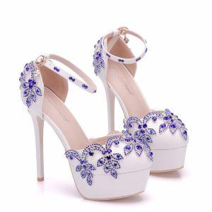 Hermoso Azul Real Zapatos de novia 2018 Rhinestone 14 cm Stilettos / Tacones De Aguja Punta Redonda Boda High Heels