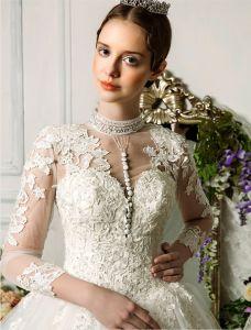 2015 Exquisite Hand Schultern 3/4 Ärmel Applikationen Spitze Ballkleid Brautkleid