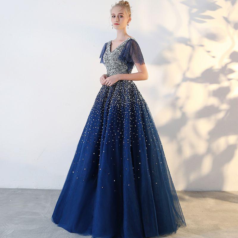 Glitter Koninklijk Blauw Galajurken 2018 Tule V-Hals Pailletten Glans Ruglooze Kralen Sterrenhemel Baljurk Gala Gelegenheid Jurken