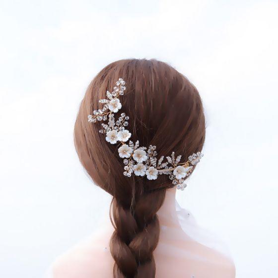 Charmant Gold Haarschmuck Braut  2020 Legierung Blumen Perlenstickerei Kristall Kopfschmuck Hochzeit Brautaccessoires