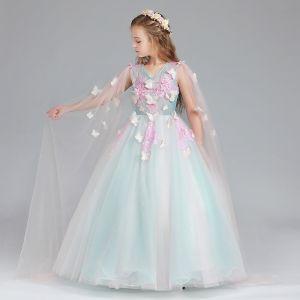 Chic / Belle Bleu Rose Bonbon Robe Ceremonie Fille 2017 Robe Boule V-Cou Sans Manches Appliques Papillon Paillettes Longue Volants Robe Pour Mariage