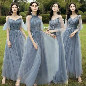 Affordable Sky Blue Bridesmaid Dresses 2020 A-Line / Princess Backless Leaf Appliques Lace Floor-Length / Long Ruffle