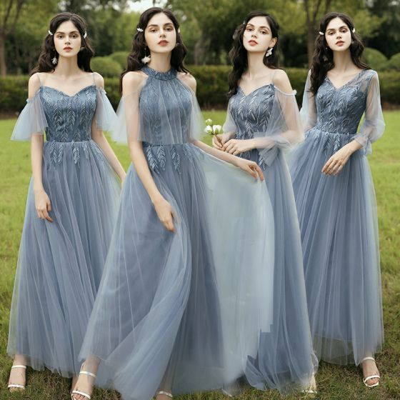 Affordable Sky Blue Bridesmaid Dresses 2020 A-Line / Princess Backless Leaf Appliques Lace Floor-Length / Long Ruffle