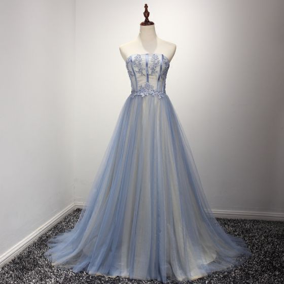 Chic / Beautiful Sky Blue Champagne Evening Dresses  2017 A-Line / Princess Strapless Sleeveless Beading Rhinestone Appliques Lace Court Train Ruffle Backless Formal Dresses