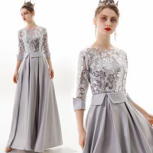 Mode Silber Abendkleider 2019 A Linie Rundhalsausschnitt Pailletten 3/4 Ärmel Rückenfreies Lange Festliche Kleider