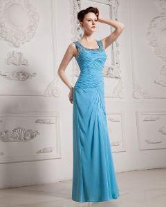 Chiffon Rüschen Quadratischen Ausschnitt Bodenlangen Kleid Graduierung
