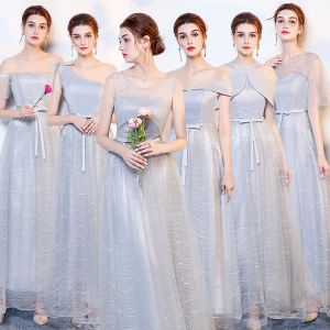 Affordable Silver Bridesmaid Dresses 2019 A-Line / Princess Bow Sash Floor-Length / Long Ruffle Backless Wedding Party Dresses