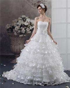 Sweetheart Beading Flower Floor Length Yarn Ball Gown Wedding Dress