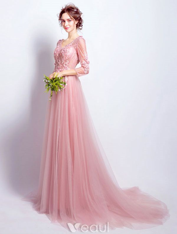 Beautiful Pink Tulle Evening Dress With Long Sleeves