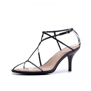 Modern / Fashion Black Beach Leather Strappy T-Strap Open / Peep Toe 8 cm Sandals High Heels Womens Shoes 2018