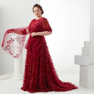 Flower Fairy Burgundy Plus Size Evening Dresses  2018 A-Line / Princess Lace-up U-Neck Tulle Appliques Backless Evening Party Prom Dresses