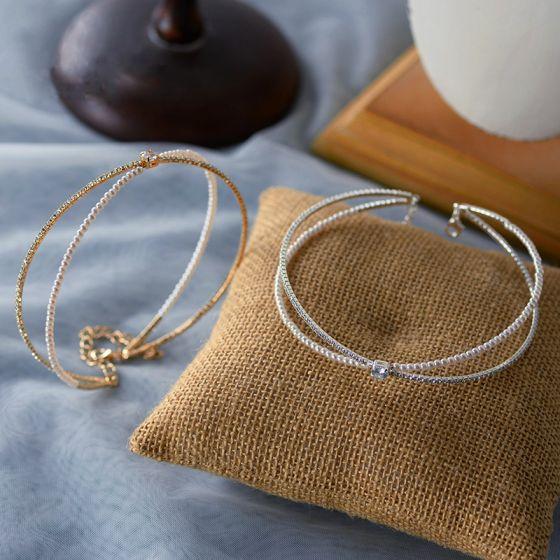 Vintage Perle Rhinestone Tiara Hårpynt 2020 Legering Bryllup Accessories