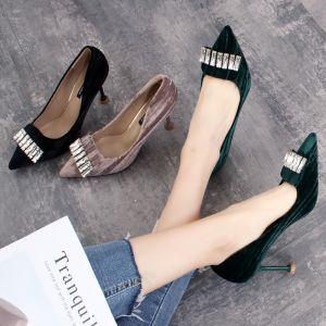 Chic / Beautiful Dark Green Casual Suede Pumps 2019 Rhinestone 8 cm Stiletto Heels Pointed Toe Pumps