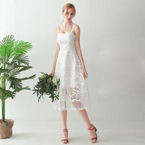 Schöne Weiß Wadenlang Abendkleider 2018 A Linie Schnürung Applikationen Rückenfreies Abend Festliche Kleider