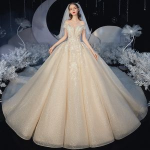 Elegant Champagne Bridal Wedding Dresses 2020 Ball Gown Off-The-Shoulder Short Sleeve Backless Appliques Lace Beading Glitter Tulle Royal Train Ruffle