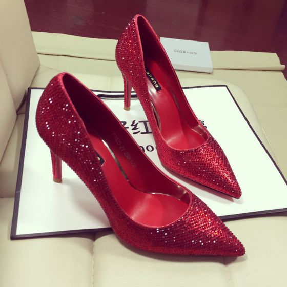 Sjarmerende Rød Pumps 2019 Rhinestone 8 cm Stiletthæler Spisse Pumps