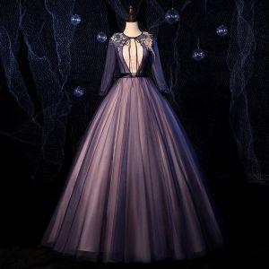 Moda Marino Oscuro Bailando Vestidos de gala 2020 Ball Gown Scoop Escote Manga Larga Apliques Con Encaje Rebordear Cinturón Largos Ruffle Sin Espalda Vestidos Formales