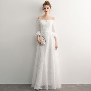 Elegant Ivory Evening Dresses  2019 A-Line / Princess Off-The-Shoulder Tassel 3/4 Sleeve Backless Floor-Length / Long Formal Dresses