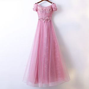 Chic / Beautiful Candy Pink Bridesmaid Dresses 2017 A-Line / Princess Lace Flower Beading Scoop Neck Short Sleeve Ankle Length Wedding Party Dresses