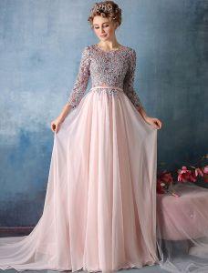 19a41aeeca1d Vackra Balklänningar 2016 3/4 Ärmar Applikationer Spets Med Paljetter Rosa  Chiffong Lång Aftonklänning