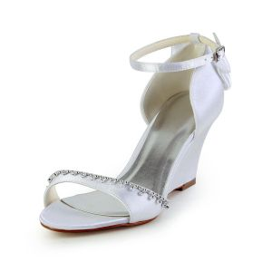 Glamorous Open Toe Mid Wedges White Satin Sandals Wedding Shoes With Rhinestone
