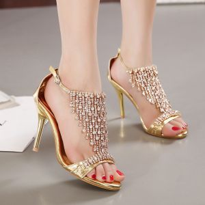 Charming Gold Evening Party Womens Sandals 2020 Rhinestone 9 cm Stiletto Heels Open / Peep Toe Sandals