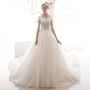 Affordable Ivory Wedding Dresses 2019 A-Line / Princess Off-The-Shoulder Short Sleeve Backless Beading Glitter Tulle Chapel Train Ruffle