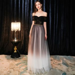 Elegant Black Evening Dresses  2019 A-Line / Princess Off-The-Shoulder Short Sleeve Beading Sash Floor-Length / Long Ruffle Backless Formal Dresses