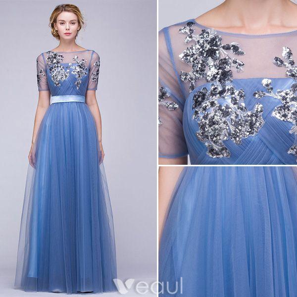Schöne Abendkleider 2016 A-linie Schnüren Quadratischen Ausschnitt Applikation Pailletten Tinte Blau Tüll Langes Kleid Mit Schärpe