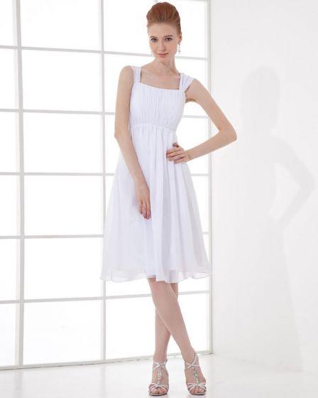 Mousseline De Soie Robe De Graduation De La Mode Plisse Carre De Longueur Genou