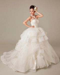 Applique Beading Ruffles Halter Tulle Ball Gown Wedding Dress