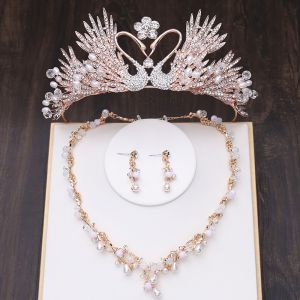 Najpiękniejsze / Ekskluzywne Złote Biżuteria Ślubna 2019 Metal Tiara Naszyjnik Kutas Kolczyki Kryształ Perła Rhinestone Ślub Akcesoria