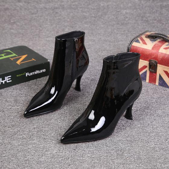 Fine Svart Gateklær Kvinners støvler 2021 Ankel Lær Patent Lær 7 cm Stiletthæler Spisse Boots