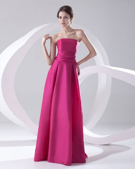 Fashion Satin Pleated Strapless Sleeveless Floor Length Bridesmaid Dress