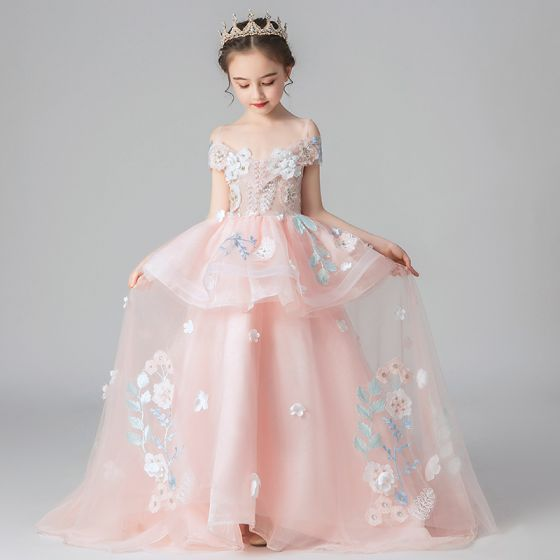 Chic / Beautiful Pearl Pink Flower Girl Dresses 2019 A-Line / Princess Off-The-Shoulder Short Sleeve Appliques Lace Flower Beading Pearl Sweep Train Ruffle Backless Wedding Party Dresses
