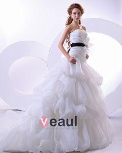 Przedza Rekawow Kochanie Satyna Syrena Katedra Pociagsuknia Balowa Suknie Ślubne Sukienki Ślubne