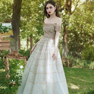 Best Gold Prom Dresses 2020 Ball Gown Off-The-Shoulder Short Sleeve Rhinestone Beading Floor-Length / Long Ruffle Backless Formal Dresses