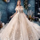 Luxury / Gorgeous Champagne Wedding Dresses 2019 Ball Gown Off-The-Shoulder Beading Sequins Lace Flower Sleeveless Backless Royal Train