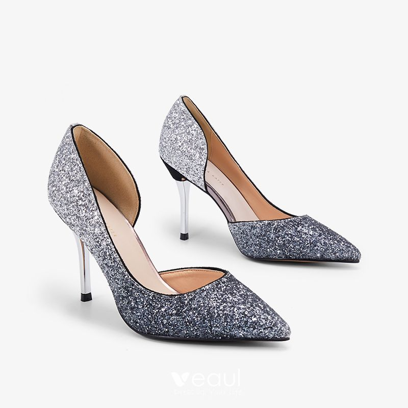 Sparkly Silver Grey Evening Party