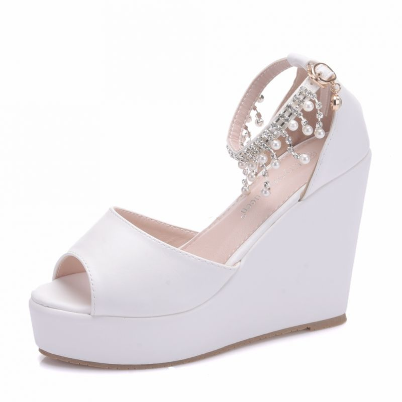 fantastic savings 50% off cheap for discount Modern / Fashion White Casual Wedges Womens Shoes 2018 Pearl ...