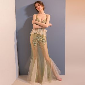Sexy Sage Green See-through Evening Dresses  2018 Trumpet / Mermaid Spaghetti Straps Sleeveless Appliques Lace Beading Floor-Length / Long Ruffle Backless Formal Dresses