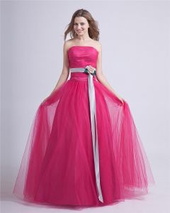 Romantic Ball Gown Strapless Sash Tulle Custom Prom Dresses